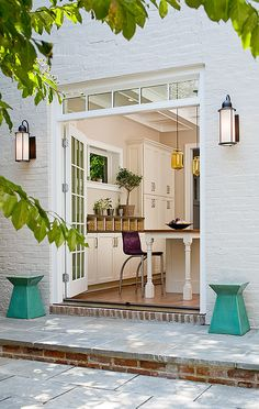 home features Niche Modern's handmade contemporary lighting. Patio Steps, French Doors Patio, Patio Doors, Exterior French Doors, Brick Patios, Banquettes, Interior Exterior, Townhouse, New Homes