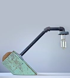 Reclaimed Wood Industrial Desk Lamp by Red Picket Fence on Scoutmob Shoppe. Reclaimed wood from a camp in Oregon,  in a cool lamp designed for a bare Edison bulb.