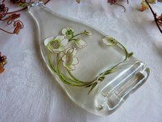Slumped Glass Champagne Bottle Cheese Plate - Perrier Jouet Rose Flower Bottle