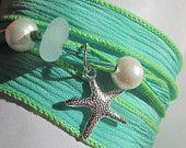 Seaglass Silk Ribbon Wrap Bracelet