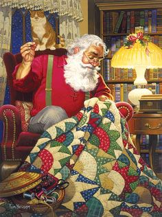 Santa quilts, too : ) And his quilt is gorgeous!! Here's a tutorial to make your own Quilting Santa quilt: http://www.victorianaquiltdesigns.com/VictorianaQuilters/BlockoftheMonth/SantasQuiltPatternTutorial.htm