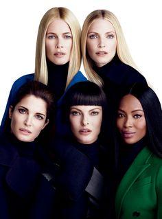 Claudia Schiffer, Nadja Auermann, Stephanie Seymour, Linda Evangelista & Naomi Campbell