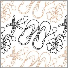 Fun In The Sun pantograph pattern by Patricia Ritter of Urban Elementz  Would be fabulous on a tropical, beachy, flip flop, or hibiscus quilt