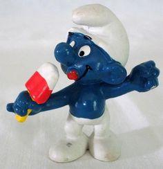 1980 Peyo Schleich Popsicle Smurf PVC Figure #Schleich