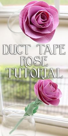 Summer is here and it& the perfect time to share this Duct Tape Rose Tutorial! Here& how to make a realistic rose out of duct tape and a straw. Duct Tape Pens, Duct Tape Rose, Duct Tape Flowers, Paper Flowers, Washi Tape, Fabric Flowers, Duct Tape Clothes, Fabric Bouquet, Summer Art Projects