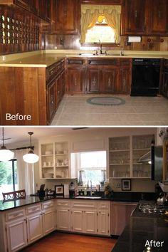 "Amazing what some paint can do. Love that they kept the cabinets -- now that's a ""budget"" makeover. Dark Wood Kitchen Cabinets, Kitchen Wood, Kitchen Cabinet Drawers, Kitchen Ideas, Kitchen Island, Kitchen Decor, Kitchen Styling, Kitchen Designs, Bathroom Renovations"