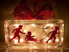 Red Holiday Children Sledding Christmas Night Light Glass Block