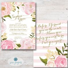 Watercolor Floral Pink and Gold Baptism invitation with scripture. Perfect for Baptism, Christening, First Communion, or Dedication! DIY & Printable