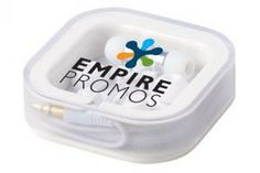 Earbud headphones ($6.82 each for 100) from Empire Promotional Products come in a customizable container.
