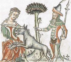 The hunt of the unicorn München Bayerische Staatsbibliothek Physiologus Clm 6908 fol-79r 14.Jh