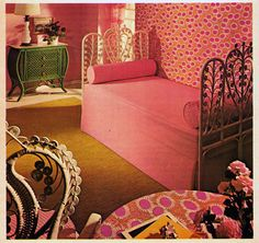 I wish this was my bedroom. Instead,  my carpet is tan and the furniture is all wood and my bedspread is a mix of colors. I have books and records all over the floor that Mom told me to pick up.     I wonder if I can bribe Audrey to clean my room for me.