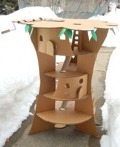 Juguetes caseros: la casa del árbol #reciclar #peques #juguetes