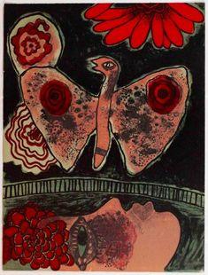 Guillaume Corneille / found on www.kunzt.gallery / Un Reve, 1972 / Lithograph