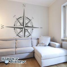 Compass Rose Vinilo Pared o Techo Calcomanía-Náutica Salón Decoración De Arte K641