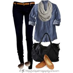 Is this not just comfy or what? Black skinny jeans with denim and the gray scarf? This is definitely a sit by the bonfire on a cool night kinda outfit kids:)  #accessorize