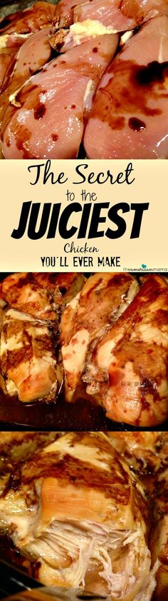 The Secret to the JUICIEST Chicken You'll Ever Make - Shhh! Works for Juicy Turkey too! chicken | chicken recipe | moist chicken breast | healthy chicken | chicken dinner | cooking secret | moist turkey | thanksgiving | meal planning | meal plans | once a week cooking | diet plans