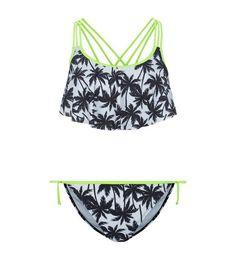 Teens Black Palm Tree Print Bikini Set | New Look