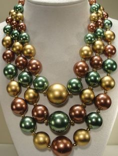 Vintage Chunky Multi 3 Strand Green, Purple and Gold Tone Plastic Pearl Graduated Bead Necklace #ThreeStrandNecklace