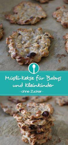 Zuckerfreie Müslikekse für Babys und Kleinkinder mit Rosinen und Haferflocken. BLW Rezept, gesundes Fingerfood.