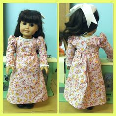 Regency style dress for America Girls namely Caroline Doll. Made it for my niece tonight. I love making doll clothes.