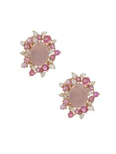 Brumani 18k Rose Gold Diamond, Rose Quartz and Pink Tourmaline Baobab Rose Flower Stud Earrings