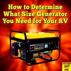 How to Determine What Size Generator You Need for Your RV