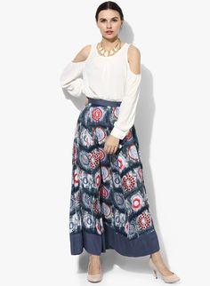 Buy Shree Blue Printed Flared Skirt online 395bd5bbc