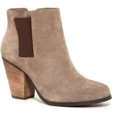 Sole Society Lylee Ankle Bootie ($90) ❤ liked on Polyvore featuring shoes, boots, ankle booties, smoke taupe, stacked heel boots, stacked heel booties, sole society boots, taupe ankle boots and lined ankle boots