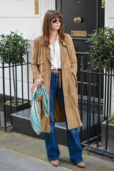 EJSTYLE - Suede trench coat by Gestuz, Zara lace up shirt, M&S High waisted flare jeans, tan chain belt, gold aviator sunglasses, Chloe drew dupe bag, Vintage valentino scarf, tan ankle boots, 70s street style