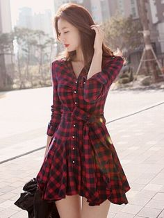 Shop Red Plaid Long Sleeve Shirt Dress With Bowknot Belt from choies.com .Free shipping Worldwide.$29.9
