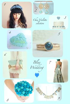 wedding blue : blue flowers headband, earrings gold and blue, wedding ring, ring bearer, blue gown, clutch, wedding bouquet, cake topper and wedding banner - selection by Chez Violette