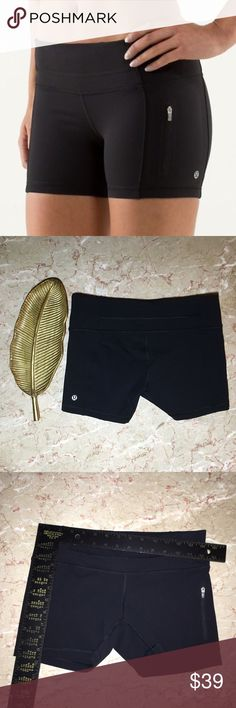 Lululemon Athletica Fast Track Luxtreme Shorts Lululemon Athletica Fast Track Luxtreme Shorts. Black. There is a zip up pocket on the shorts. It has a drawstring and small pocket on the inside of the front band. There is a flaw in the stitching on the front. Logo on the back. Please see the details in the pictures. I'm not sure about the size, please refer to the measurements and size chart. Thanks for looking! Please comment with questions! lululemon athletica Shorts