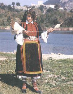Albanian Folk Costumes - Veshje Popullore Shqiptare. Woman dress. Theollogo. Beginning of XX century.