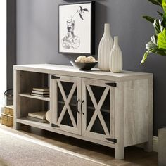 Gracie Oaks Mildenhall TV Stand for TVs up to 65 inches Colour: White Oak Coastal Living Rooms, Living Room Tv, Living Area, Condo Living, Cool Tv Stands, Oak Color, Reclaimed Barn Wood, French Country Decorating, White Oak