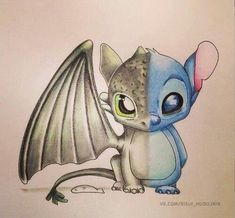 Toothless and Stitch combined make an adorable little creature. #AdorableDrawings