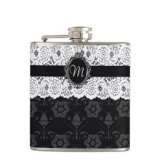 Chic Black and White Lace Monogram Flask