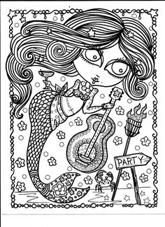 Mermaid party adult Advanced Detailed coloring colouring