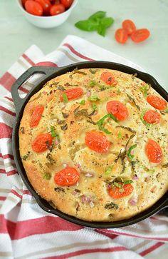 how to make No Knead Tomato Basil Focaccia Bread