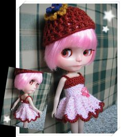 Blythe Crochet Pattern - Sweet Shell Dress. www.sewtown.etsy.com  www.ravelry.com/stores/sewtown