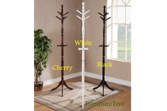 Classic Solid Birch Wood White Black Cherry Coat Hat Umbrella Rack Hall Tree New