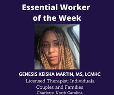 Essential Worker of the Week: Today, I'd like to Genesis Keisha Martin, MS, LCMHC, a Licensed Therapist for Individuals, Couples and Families from Charlotte, North Carolina. We are grateful for you. Thank you for your service! Unsung Heroes by Benita Charles honors our Essential Workers! #newmusic #unsungheroes #essentialworkers #honor #thankyou ##GenesisKeishaMartin #mentalhealth #licensedtherapist #charlotte #northcarolina #awesome #benitacharlesmusic Unsung Hero, Grateful For You, Singing Tips, New Music, North Carolina, Essentials, Shit Happens, Motivation, Ms
