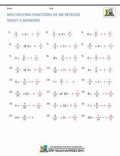 Multiplying Fractions Worksheets Free Fraction Worksheets Multiplying Fractions By Integer Ans - Veigia Multiplication Of Integers, Multiplying And Dividing Integers, Math Fractions Worksheets, Integers Worksheet, Geometry Worksheets, Printable Math Worksheets, School Worksheets, Maths, Free Fraction Worksheets
