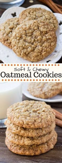 These chewy oatmeal cookies are soft, packed with texture, and have a delicious caramel flavor with a hint of cinnamon. These chewy oatmeal cookies are soft, packed with texture, and have a delicious caramel flavor with a hint of cinnamon. Soft Chewy Oatmeal Cookies, Chocolate Chip Cookies, Oatmeal Cookie Recipes, Caramel Cookies, Healthy Oatmeal Cookies, Oatmeal Peanut Butter Cookies, Instant Oatmeal Cookies, Homemade Oatmeal Cookies, Diabetic Cookies