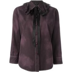 Marc Jacobs crepe-de-chine blouse (19.505 RUB) ❤ liked on Polyvore featuring tops, blouses, black, gothic tops, crepe de chine blouse, marc jacobs top, collar top and marc jacobs