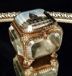 Jewlery Casket Antique French Crystal Brass Jewelry Casket Beveled Glass Art Nouveau Trinket Vanity Box France by OldGLoriEstateSale on Etsy