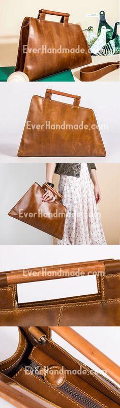 Genuine Leather Handmade Wooden Handbag Bag Shoulder