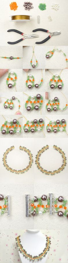 Free Pattern on Beading a Wedding Pearl Necklace with Crystal beads and Seed Beads from LC.Pandahall.com        #pandahall  PandaHall Promotion: use coupon code MayPINEN10OFF for 10% off for your orders, valid time from May 18 to 31.
