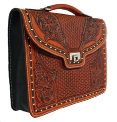 Hand tooled Leather Brief case, this would make a Great Present! We donated this one to our CASA's Fundraiser Auction. Retail price $800.00 Tooled Leather, Leather Tooling, New Item, Retail Price, Hand Tools, Fundraising, Satchel, Auction, Bags