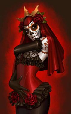 day of the dead Skull woman in red