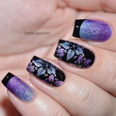 Floral Stamping Nail Art using holographic nail polish plus modified French tip nail art